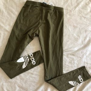 Adidas rare olive green logo leggings